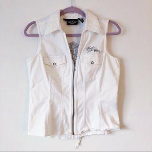Harley-Davidson white denim zip up vest